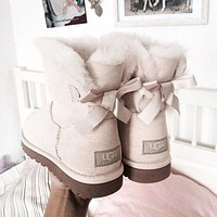 """""""UGG"""" Women Fashion Bow Leather Wool Snow Boots"""