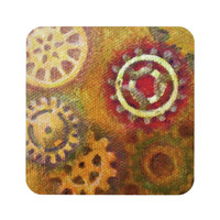 Steampunk Gears Coasters Set in brown, orange, red and yellow, set of four coasters with cork back