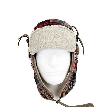 TRUE RELIGION Quilted Helmet Wooly Check Trapper