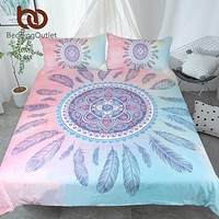 BeddingOutlet Mandala Bedding Set Pink and Blue Duvet Cover With Pillowcases Feathers Bed Set Bohemian Printed Bedclothes 3pcs