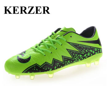 KERZER Soccer Shoes Football Cleats Kids Men Outdoor Athletic Spikes Shoes Leather Soccer Trainers Children Football Boots Studs