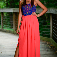 Straight Up Maxi, Neon Coral/Blue
