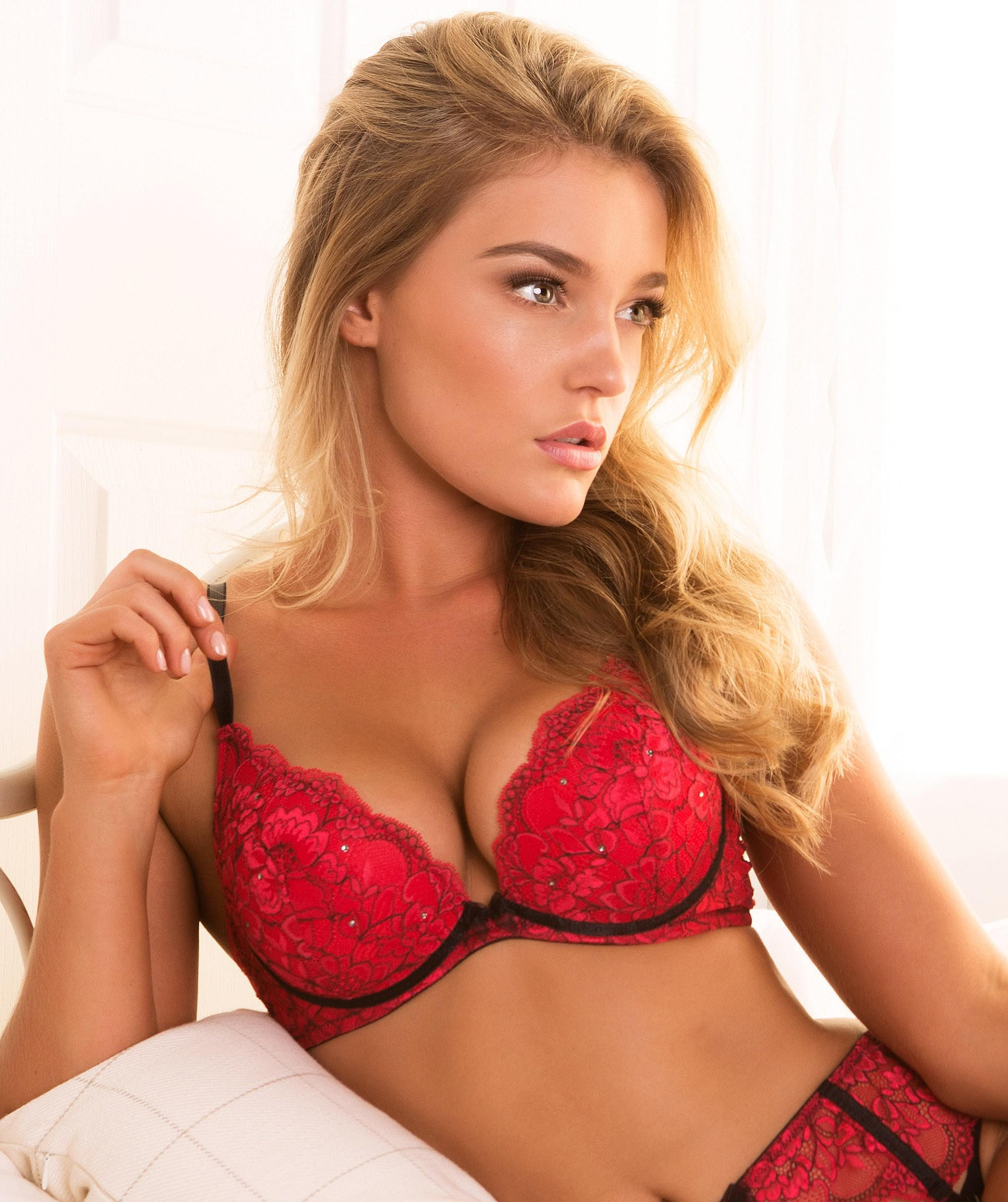 6484a472cf389 Lucia Plunge Double Push Up Bra - Red  from bras N things
