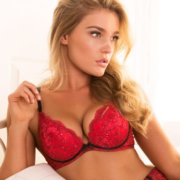 Lucia Plunge Double Push Up Bra - Red/ Black