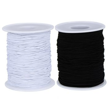 2 Roll Elastic Cord Thread Beading Threads Stretch String Fabric Crafting Cord for Jewelry Making, 0.8 mm, 100 m/ Roll, White and Black