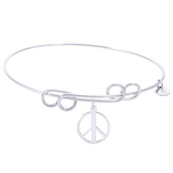 Sterling Silver Carefree Bangle Bracelet With Peace Symbol Charm
