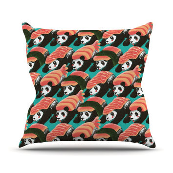 "Tobe Fonseca ""Sushi Panda"" Orange Blue Outdoor Throw Pillow"