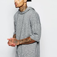 ASOS Longline T-Shirt With Hood In Oversized Fit With Step Hem And Slub Fabric at asos.com
