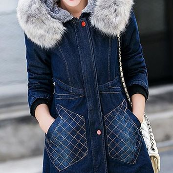 Blue Irregular Pockets Faux Fur Hooded Long Sleeve Thick Denim Coat