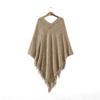Women Batwing Cape Poncho Knit Top Cardigan Sweater Coat Outwear Jacket HY899