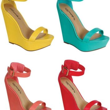 Breckelle's Vivi 01 High Heel Wedge Shoes Sandals w/ Buckle in Bright Colors