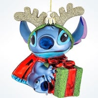 Disney Parks Glitter Blown Glass Stitch Christmas Ornament New with Tags