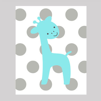 Instant Download Aqua Giraffe on Gray Dots Print CUSTOM COLORS Animals digital nursery decor art baby room decor print digital download 8x10