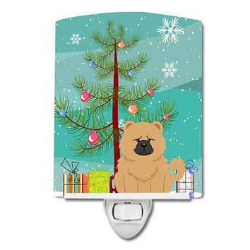 Merry Christmas Tree Chow Chow Cream Ceramic Night Light BB4269CNL