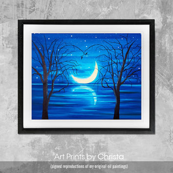 Moon print-Moonlight Poster-Wall art-living room-Sea print-Typography-moon poster- Home Decor-Digital Print-Art-from painting.