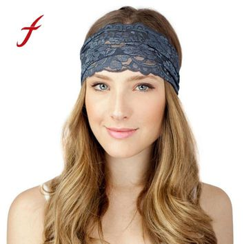 New Women Fashion Lace Wide Headband Bohemian Headwrap Accessories