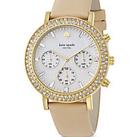 Kate Spade New York - Metro Grand Pavé Goldtone Stainless Steel & Vachetta Leather Strap Chronograph Watch - Saks Fifth Avenue Mobile