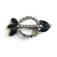 Dark Blue and Aurora Borealis Rhinestone Arrow Brooch Vintage Abstract