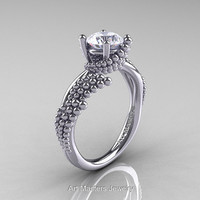 Nature Inspired 14K White Gold 1.0 Ct White Sapphire Sea Engagement Ring R399-14KWGWS