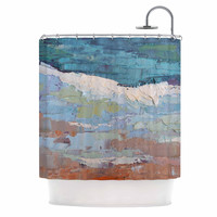 "Carol Schiff ""On the Beach"" Coral Blue Shower Curtain"