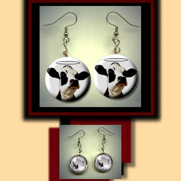 COW with HALO Farm Animal Altered Art Dangle Earrings with Rhinestone