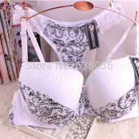 Free Shipping Newest Women Seamless Push Up Bra + Panties Summer Sexy Thin Bowknot Plunge Bra Plus Size 75 80 85 90 CD 6 Color