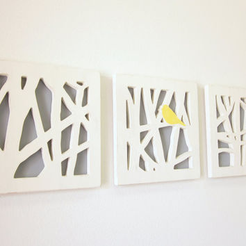 Yellow Bird Wall Art Set, Triptych Wall Art Set, Yellow and Gray Wall Art