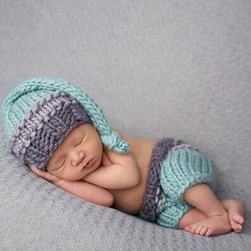 Baby Newborn Photography Props Photo Knit Pants and Hat Newborn Photography Accessories Baby Caps Crochet Outfits