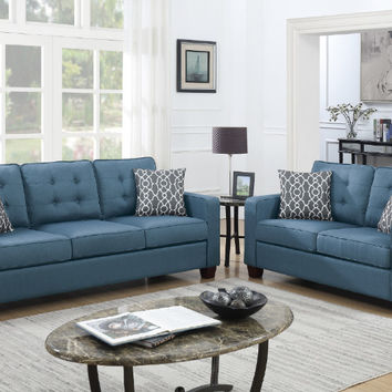 Poundex F6410 2 pc Colleen II blue glossy polyfiber fabric sofa and love seat set