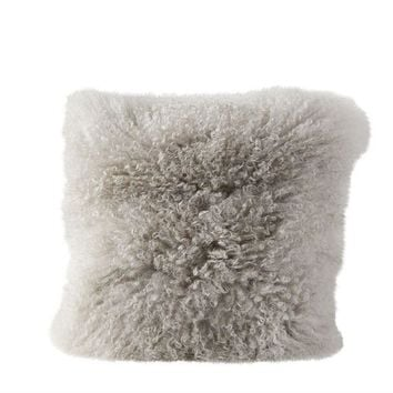 Square Mongolian Lamb Fur Pillow, 16""