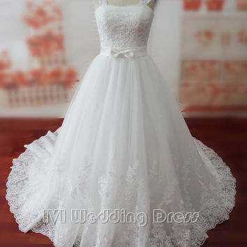Real Samples A-line Wedding Dress with Bow, Long Train Bridal Gown with Shawl