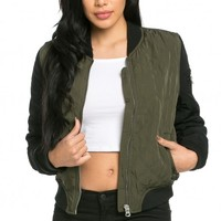 Quilted Puffy Bomber Jacket in Olive