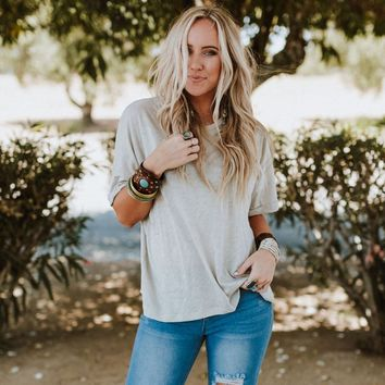 Off The Cuff Basic Tee - Gray