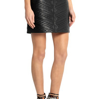 Balmain Quilted leather mini skirt – 65% at THE OUTNET.COM