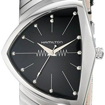 Hamilton Mens H24411732 Ventura Stainless Steel Watch with Black Leather Band