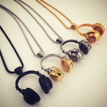 New Arrival Gift Stylish Shiny Jewelry Headphones Hip-hop Club Necklace [8439461443]