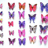 Easy Instant Home Decor Wall Sticker Decal - Vivid Colorful Butterflies Wing Span