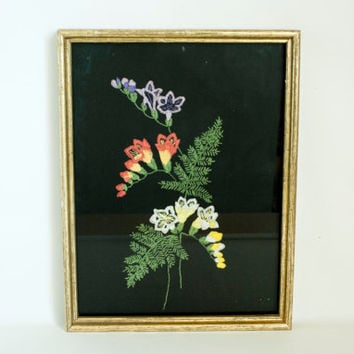 Vintage Fern Flower Embroidery Picture, Botanical Illustration on Black Background, Handmade 1970s Kitsch Decor
