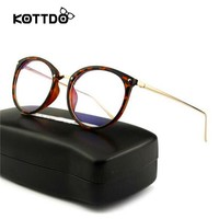 KOTTDO Women Eyeglasses Frames Vintage Optical Eye Glasses Frame Myopia Round Metal Unisex Spectacles oculos de grau Eyewear
