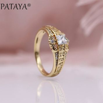 PATAYA New Arrivals 585 Rose Gold Square White Natural Zircon Rings Russian Characters Women Wedding Ring Fine Party Jewelry