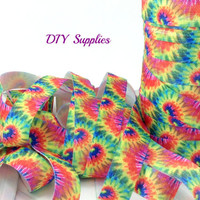 5 yards 5/8 the dye splash fold over elastic, FOE, elastic by the yard, headband supplies, printed elastic