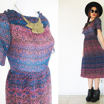 Vintage 70's sheer floral flower hippie bohemian boho blue pink summer print day midi dress bell puff sleeves