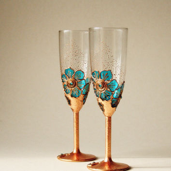 Copper Turquoise Wedding Glasses,Hand Painted, Champagne Glasses, Toasting Glasses, set of 2
