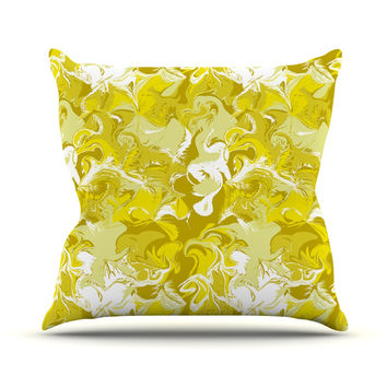 "Anneline Sophia ""Marbleized In Gold"" Yellow Outdoor Throw Pillow"