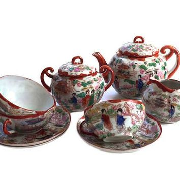 Vintage, Japanese Geisha Ware, Porcelain Tea Set, Teapot Creamer Sugar 3 Cups 3 Saucers JAPAN Handpainted