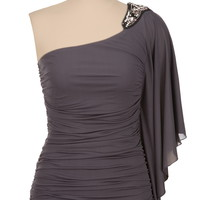 ruched embellished one shoulder top