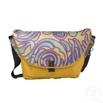 Curvy Lines Batik Purple Messenger Bag from Zazzle.com