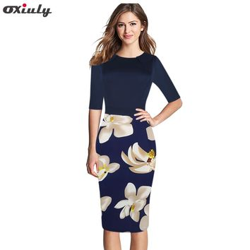 Oxiuly Womens Dress Elegant Floral Flower Vestidos Casual Party Fitted Sheath Office Bodycon Dress