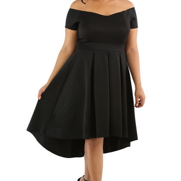 Black Plus Size Off Shoulder Swing Dress LAVELIQ