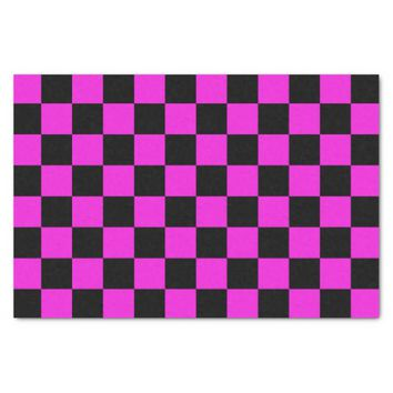 Hot Pink and Black Checkerboard Pattern Tissue Paper